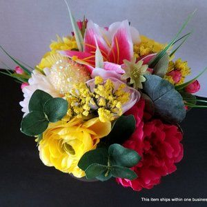 Artificial Lily and Ranunculus Bouquet